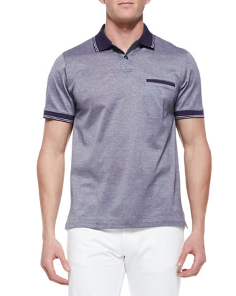 Pique Polo Shirt with Contrast Taping, Navy/White