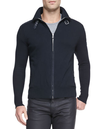 Regent Knit Zip Cardigan, Navy