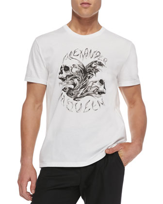 Short-Sleeve Skull Logo Tee, White