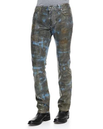 Lizard-Print Jeans, Green