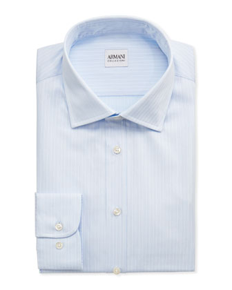 Double-Track Stripe Dress Shirt, Light Blue