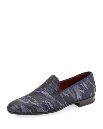 Camo-Print Slip-On Loafer, Navy