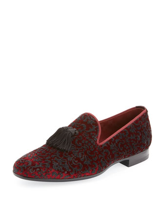 Velvet Slip-On Loafer, Burgundy