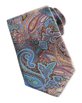 Quindici Paisley-Print Silk Tie, Brown