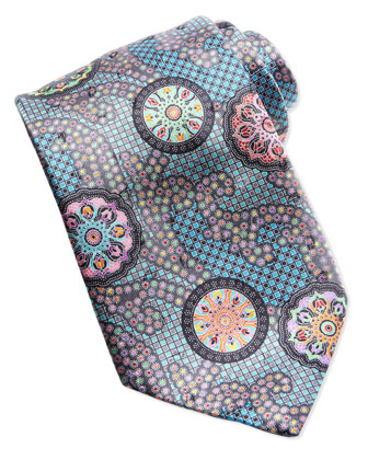 Quindici Patchwork-Circle Silk Tie, Green
