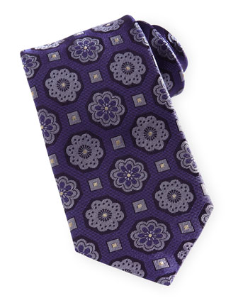 Floral Medallion Silk Tie, Blue