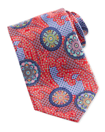 Quindici Patchwork-Circle Silk Tie, Red