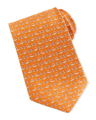 Crab & Floral-Print Silk Tie, Orange