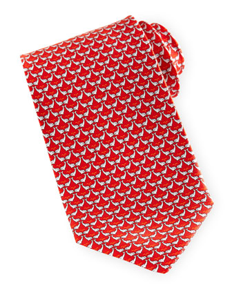 Dolphin-Print Silk Tie, Red