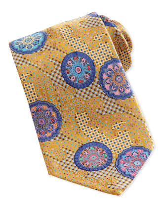 Quindici Patchwork-Circle Silk Tie, Blue