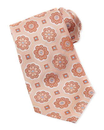 Floral Medallion Silk Tie, Peach