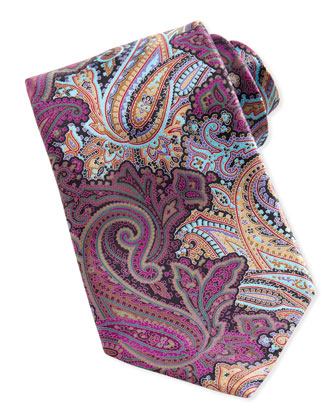 Quindici Paisley-Print Silk Tie, Mauve