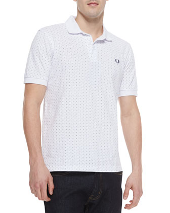 Polka-Dot Polo Shirt, White Carb
