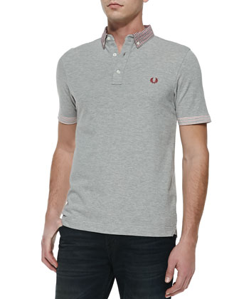 Pique Gingham and Stripe Trim Polo
