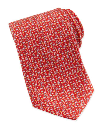 Palm Tree-Print Silk Tie, Red