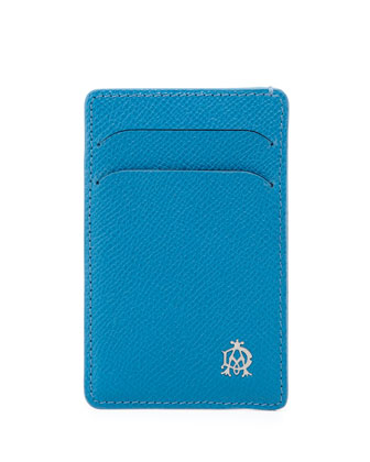 Bourdon Leather Card Case, Turquoise