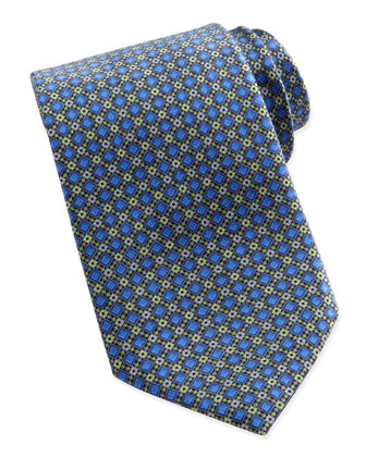 Diamond-Geo-Neat Silk Tie, Blue