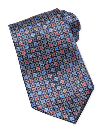 Butterfly-Square-Neat Silk Tie, Navy
