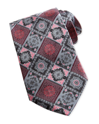 Woven Tonal-Diamond-Print Tie, Gray