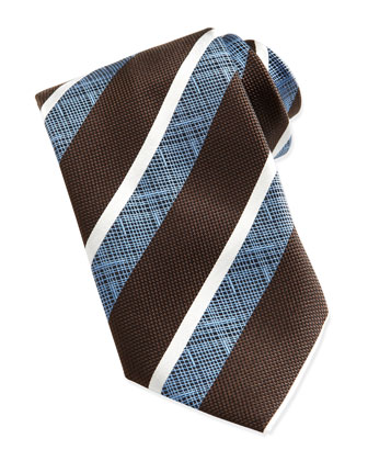 Wide-Crosshatch Striped Tie, Brown
