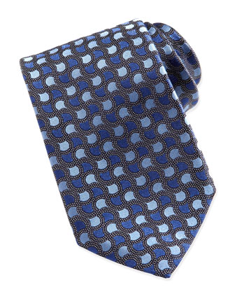Geo-Teardrop Dot-Ground Silk Tie, Blue