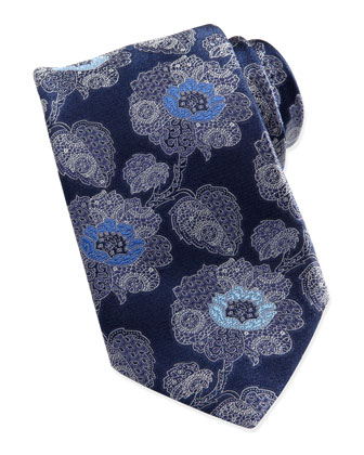 Large Paisley-Floral Silk Tie, Navy