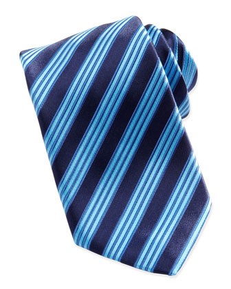 Multi-Track Striped Silk Tie, Navy