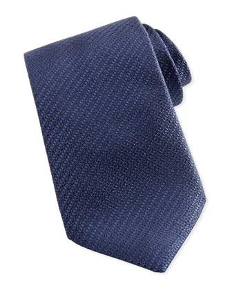 Woven Textured Silk Tie, Navy