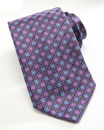 Medallion Square-Neat Tie, Purple