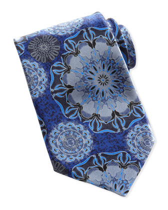 Large-Floral Silk Tie, Navy