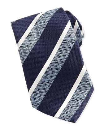 Wide-Crosshatch Striped Tie, Navy
