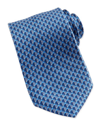 Shell Neat Silk Tie, Blue