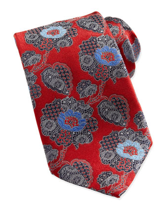 Large Paisley-Floral Silk Tie, Red
