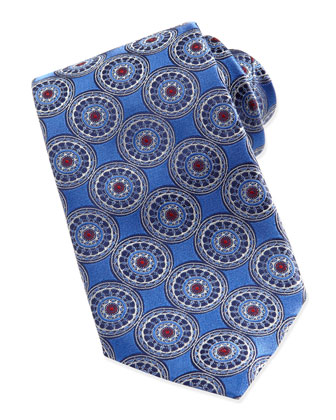 Circle-Medallion Silk Tie, Blue