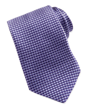 Woven Tonal-Diamond-Print Tie, Purple