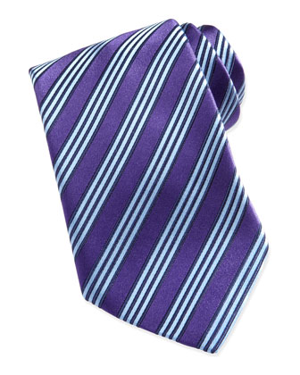 Multi-Track Striped Silk Tie, Purple
