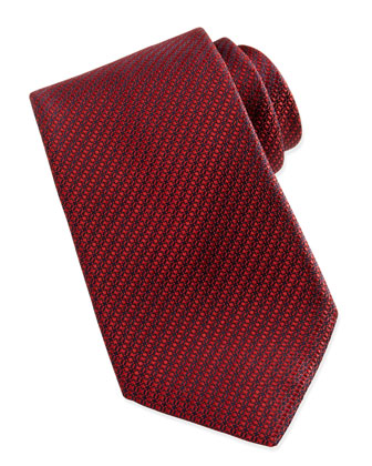 Woven Textured Silk Tie, Red/Navy