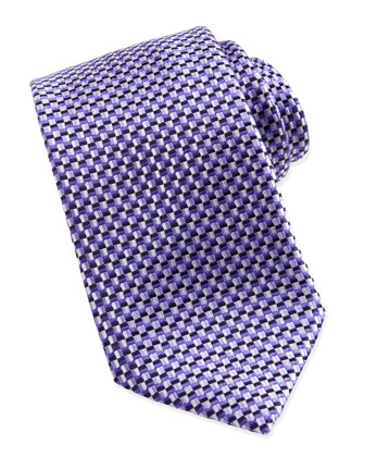 Basket-Weave Silk Tie, Purple