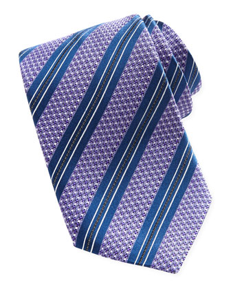 Textured Striped Silk Tie, Purple