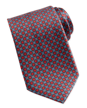 Diamond Geo-Neat Silk Tie, Red