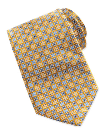 Medallion Square-Neat Tie, Yellow