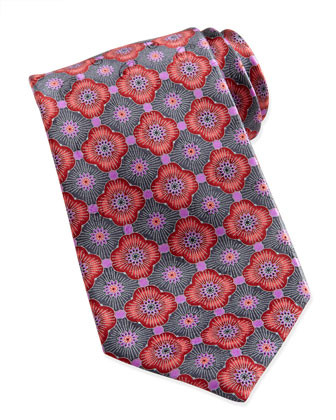 Geometric-Floral Silk Tie, Red