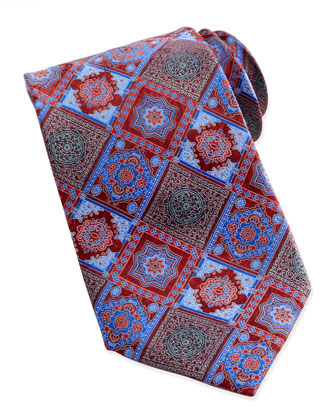 Diamond-Tile-Print Silk Tie, Red
