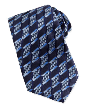 3-D Slanted Diamond Silk Tie, Navy