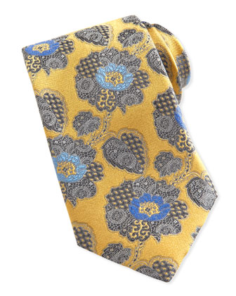 Large Paisley-Floral Silk Tie, Yellow