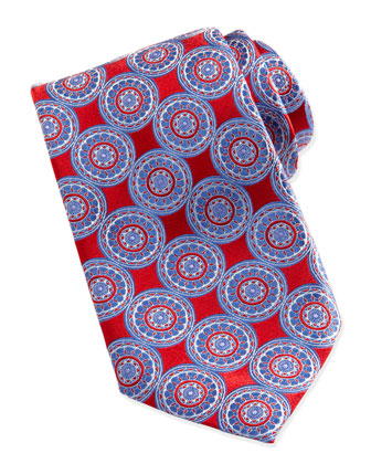 Circle-Medallion Silk Tie, Red