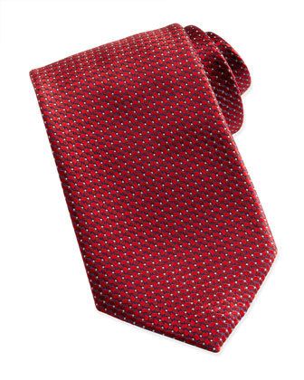 Woven Tonal-Diamond-Print Tie, Red