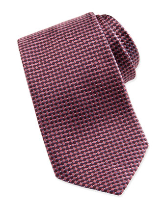 Woven Tonal-Diamond-Print Tie, Burgundy