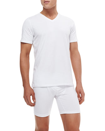 Modal/Cotton V-Neck Tee, White
