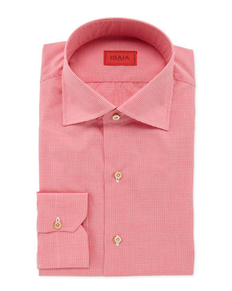 Micro-Gingham Dress Shirt, Fuchsia